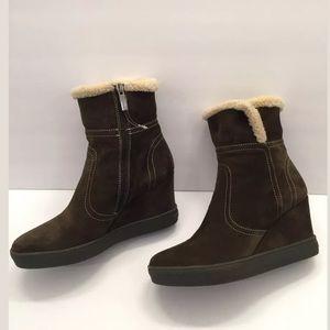 d3e449765ace Aquatalia Shoes - Aquatalia Cindy Faux Fur Wedge Boot Herb